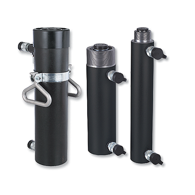 High pressure double acting hollow hydraulic cylinders