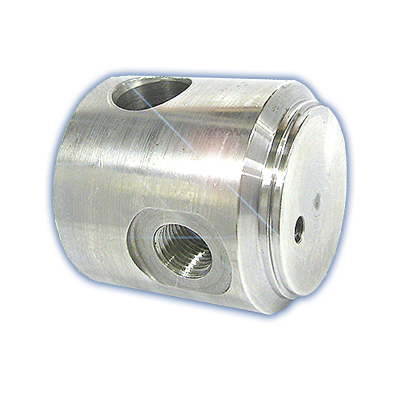 40mm - 70mm 316 Stainless steel end plug with crosshole & port
